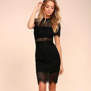 Lulus Remarkable Black Lace Dress Short Sleeve Mid